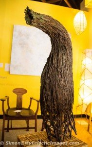 Sculpture by Ann Wizer made from forest products