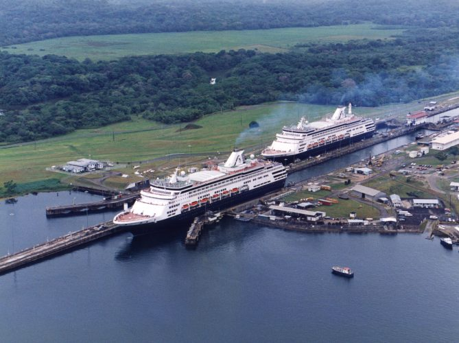 The Statendam and Ryndam in the Panama Canal (Courtesy of Captain Albert Schoonerbeek and the Holland America Line)