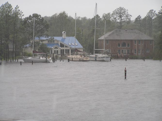 Hurricane Florence - a further rise in the water and now with significant flooding seen from the safe vantage point of our house across the water (© Bob Leahy ~ published with permission)
